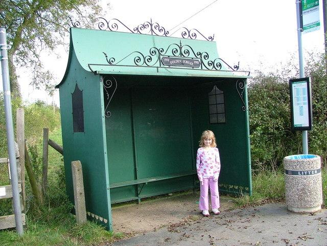 An ornate bus shelter
