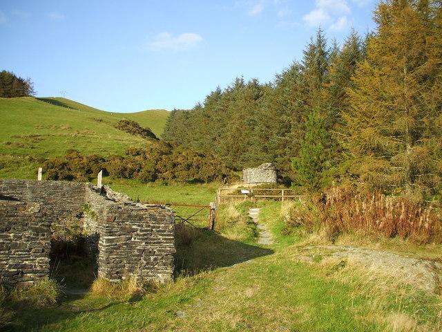 Ruins at mine museum, below Mynydd Pont-erwyd