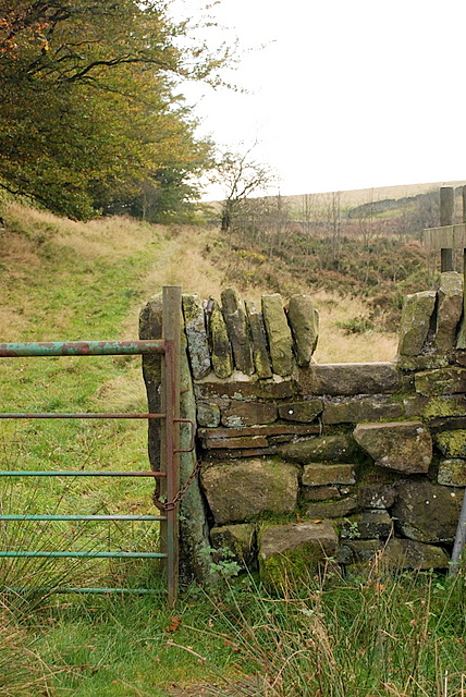 Gate and stile near Bretton