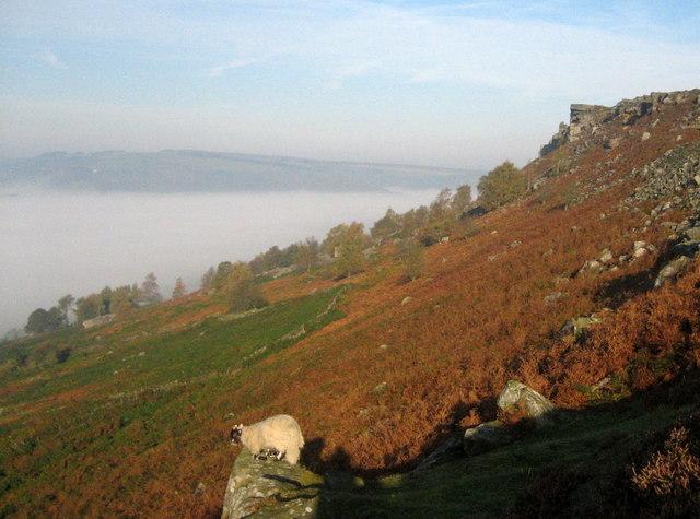 Above the fog on Curbar Edge