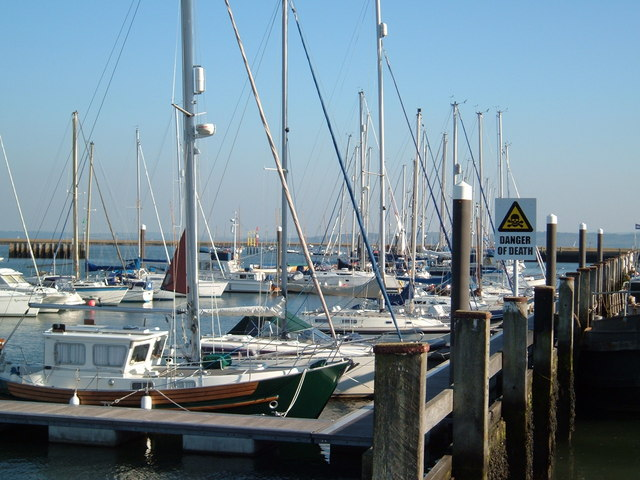 Boats at the mouth of the River Lymington