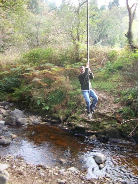 Rope swing over Monamore Burn