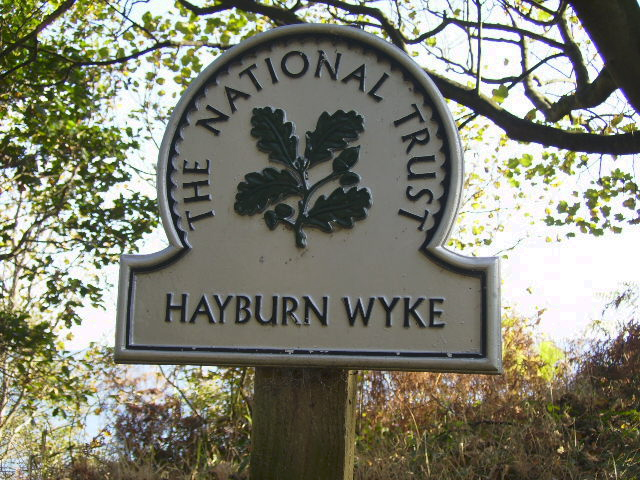 Sign bordering the NT land on the Cleveland Way at Hayburn Wyke