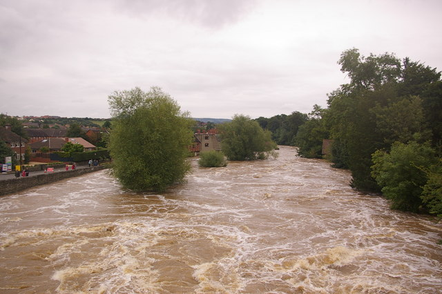 River Teme downstream from Ludford Bridge, at the height of the July 2007 floods by Ian Capper