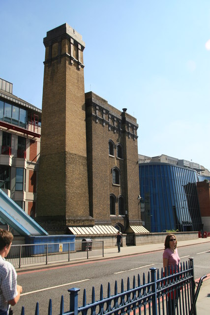 Tower Bridge chimney and accumulator tower.
