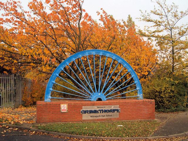 Mining wheel entrance to School