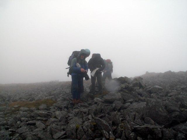 Finding our way off Craig Cwm Silyn Summit