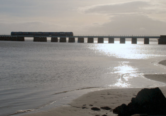 Train crossing the Leven viaduct