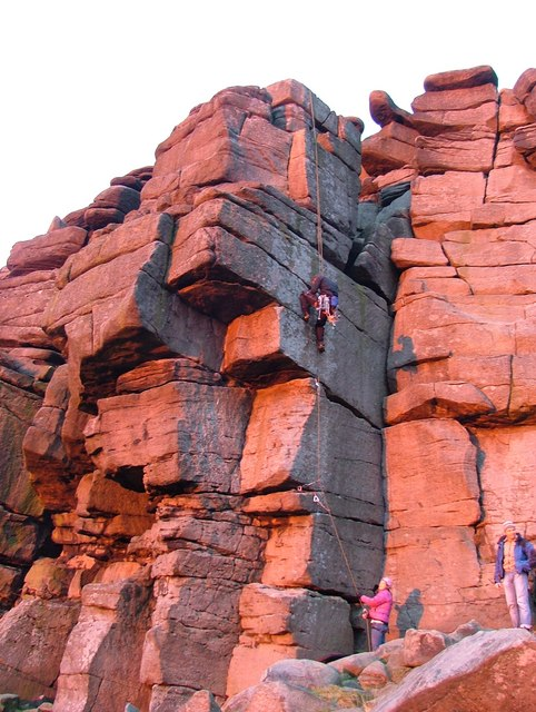 Climbers at sunset - Stanage Edge