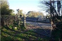 SX5756 : Footpath crossing road at Sparkwell bridge by Nigel Mole