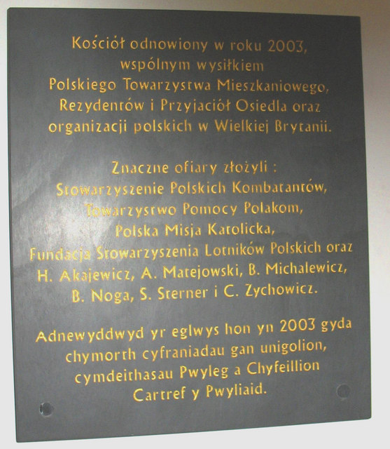 A tablet marking the refurbishment of the Polish church in 2003
