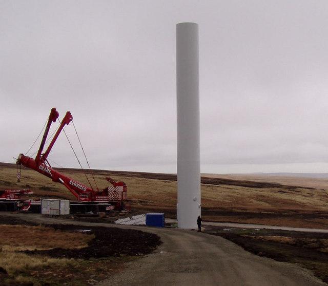 Turbine under construction - Scout Moor windfarm