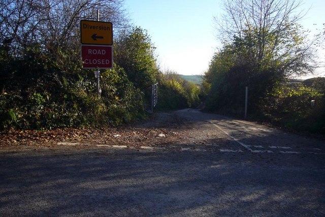 Closed road to Langage Farm