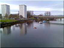 NS3975 : River Leven and Dumbarton high rise flats by Stephen Sweeney