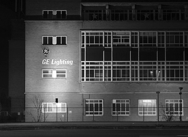 GE Lighting factory by night