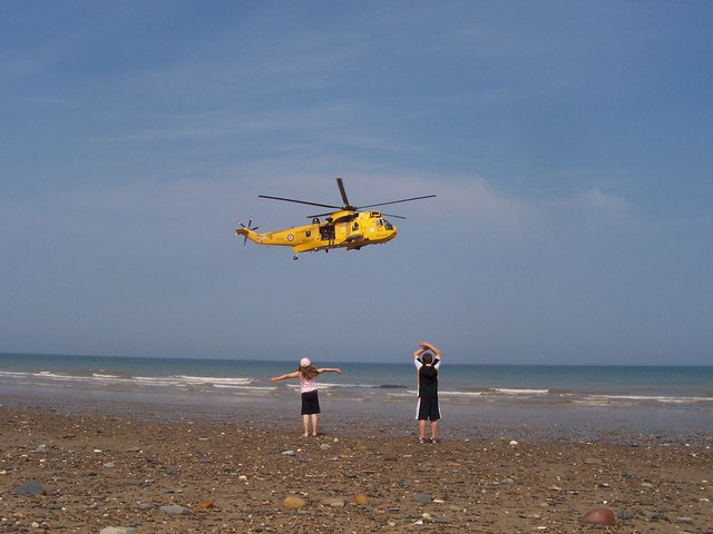RAF Rescue Sea King Helicopter at Hornsea Beach   down from Morrow Avenue