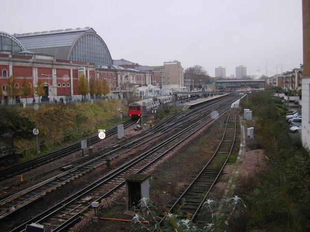 Railway Tracks to Kensington Olympia from Kensington High Street Bridge, London W14