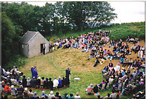 NH5857 : Outdoor Preaching at Ferintosh Burn by JJM