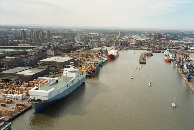 Grimsby Royal Dock taken from Dock tower
