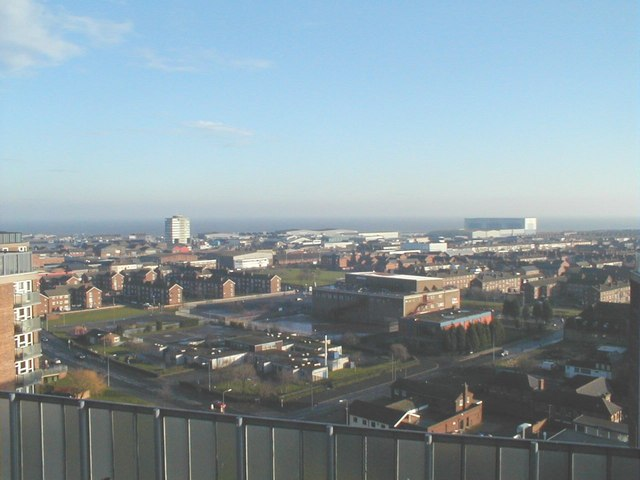 Looking east south east from the roof of Thesiger house Grimsby