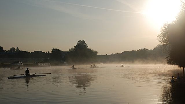 Early morning rowers on the River Thames at Windsor