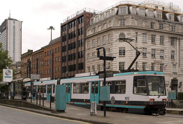 Tram arrives at St Peter's Square