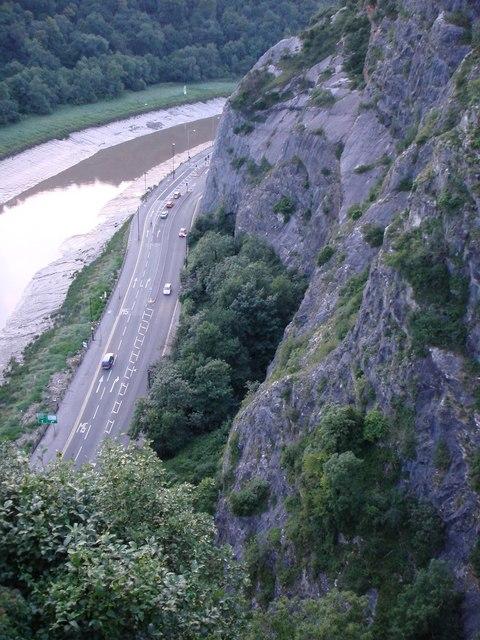River Avon below cliffs above Clifton Suspension Bridge