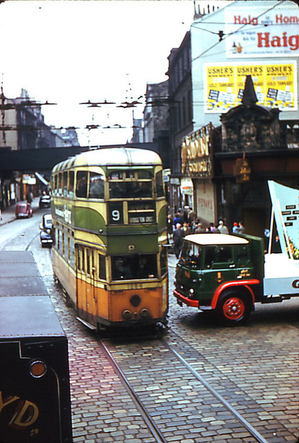 Glasgow tram in Trongate, en route to Dalmuir West