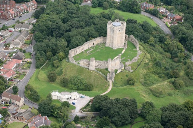 Aerial view of Conisbrough Castle