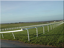 TQ2258 : Finishing straight, Epsom Downs by Hugh Craddock