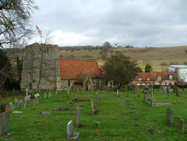 St Mary's Church, Turville with the windmill on the hill