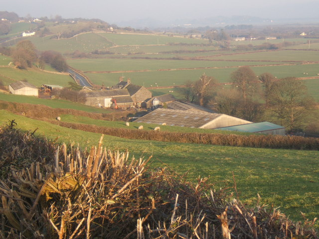 Looking over Low House farm from the top of the lane