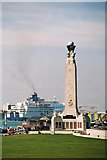 SZ6398 : Southsea: war memorial and P&O ferry by Chris Downer