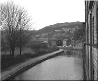SD9926 : Rochdale Canal: view west from Station Road Bridge 16 by Dr Neil Clifton