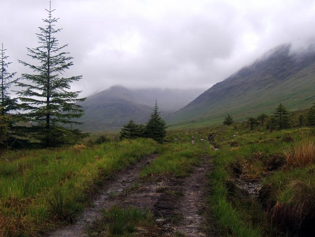 Rough track leading back up Glen Kingie