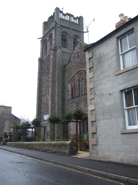 A church with tower on Coldstream High Street
