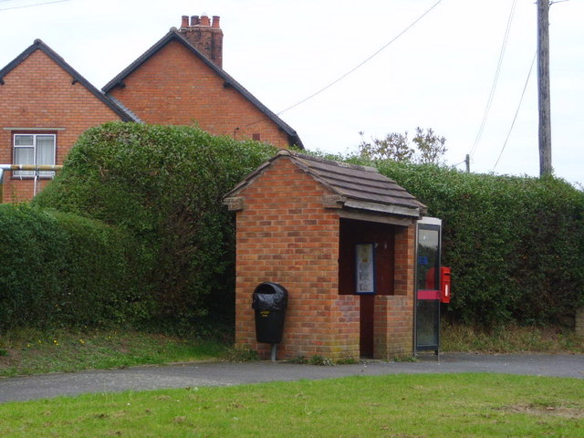 Bus Shelter, postbox and telephone box at Langley Dale