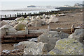 TQ1602 : Boulders and Groynes, Worthing Beach, West Sussex by Roger  Kidd