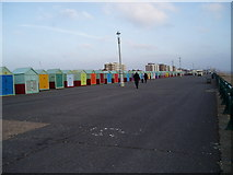 TQ2704 : Beach huts on Western Esplanade by Peter Holmes