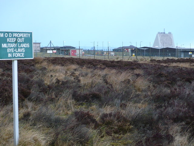 The electrified perimeter fence at RAF Fylingdales