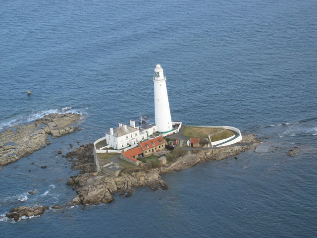 Aerial photo of St Mary's Island at high tide