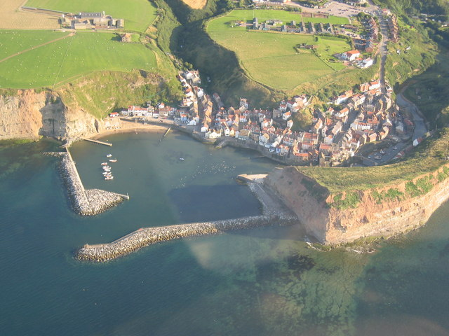 Aerial photo of Staithes and the Harbour