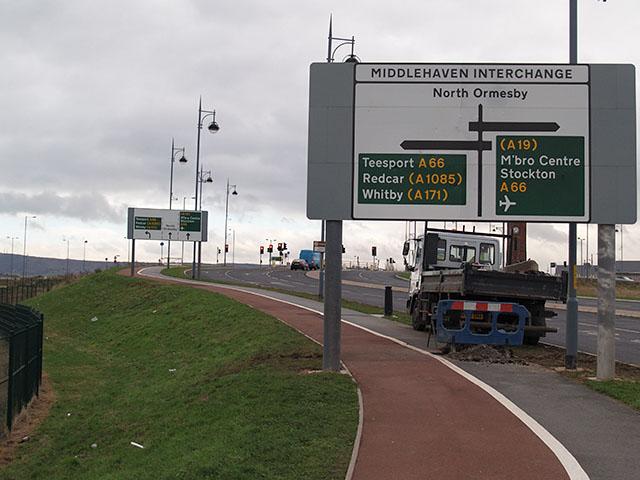 Approaching Middlehaven Interchange