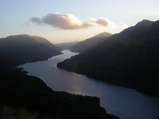 Loch Eck from lower slopes of Beinn Dubhain