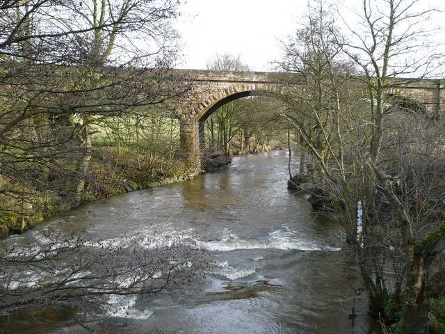 River Esk in spate near railway viaduct