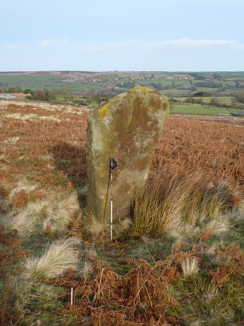 Old stone marker post on Glaisdale Moor