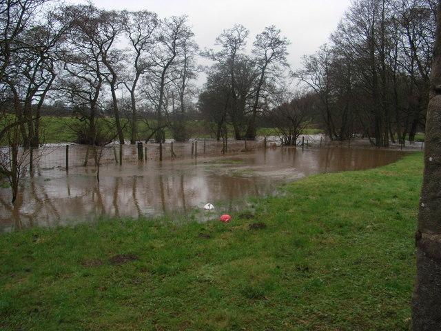 River Petteril  bursting its banks at Troughfoot Farmhouse