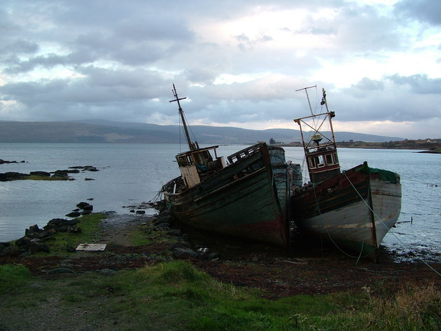 Decaying wrecks West of Salen, Mull