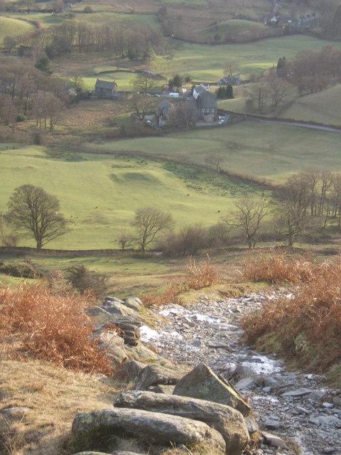 Steep path off Lingmoor Fell, looking down on Little Langdale