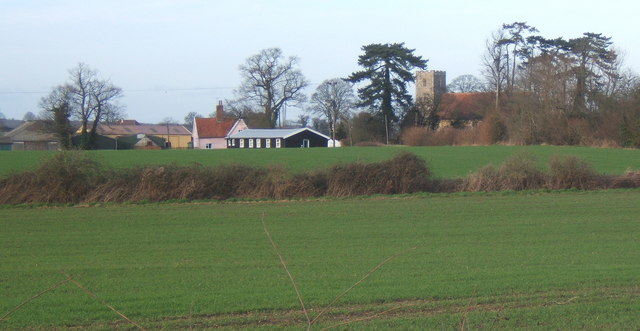 View across fields towards Hemingstone church